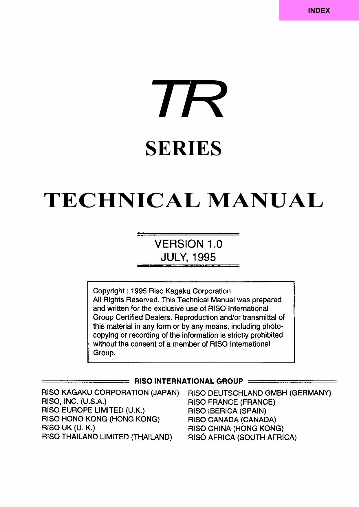 RISO TR 1510 1530 TECHNICAL Service Manual-1